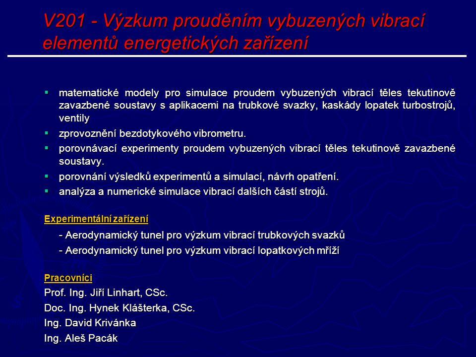 V201 - Výzkum prouděním vybuzených vibrací elementů energetických zařízení  matematické modely pro simulace proudem vybuzených vibrací těles tekutino