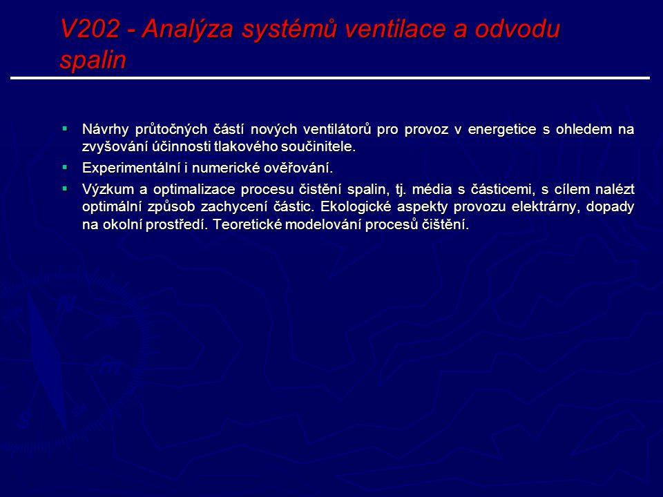 V202 - Analýza systémů ventilace a odvodu spalin  Návrhy průtočných částí nových ventilátorů pro provoz v energetice s ohledem na zvyšování účinnosti