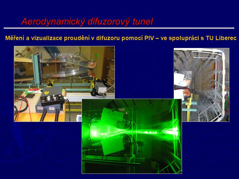 Aerodynamický difuzorový tunel Měření a vizualizace proudění v difuzoru pomocí PIV – ve spolupráci s TU Liberec