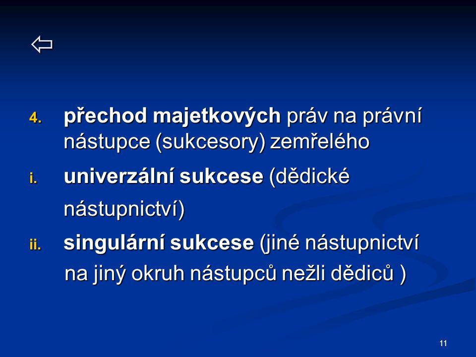 11  4.přechod majetkových práv na právní nástupce (sukcesory) zemřelého i.
