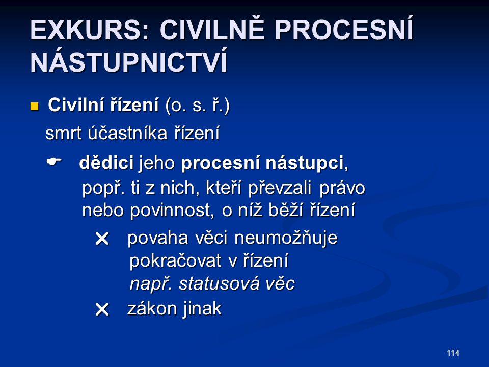 114 EXKURS: CIVILNĚ PROCESNÍ NÁSTUPNICTVÍ Civilní řízení (o.