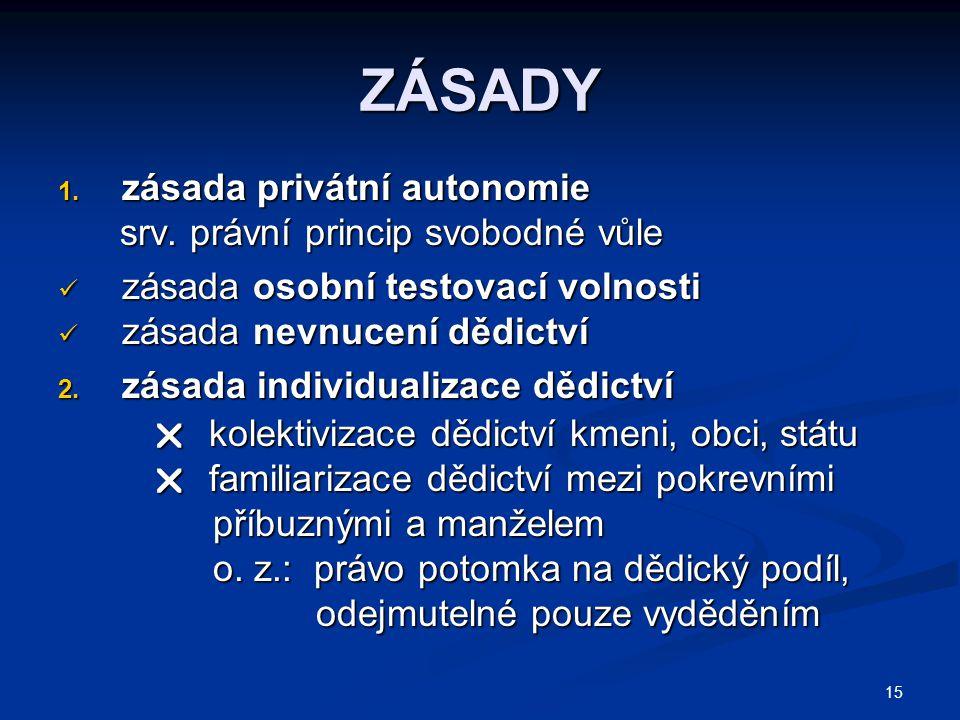 15 ZÁSADY 1.zásada privátní autonomie srv. právní princip svobodné vůle srv.