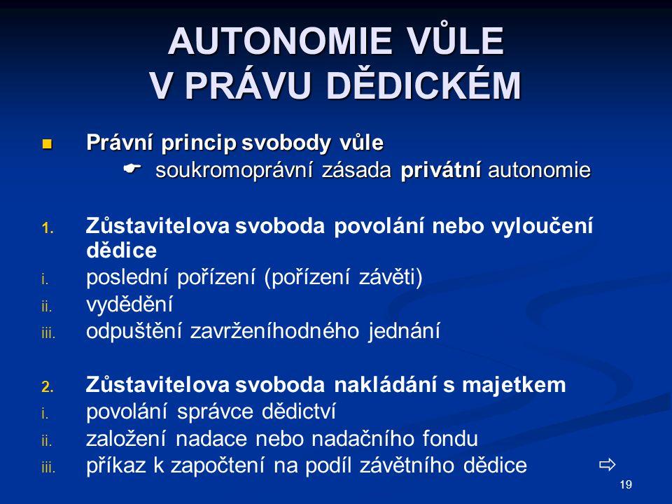 19 AUTONOMIE VŮLE V PRÁVU DĚDICKÉM Právní princip svobody vůle Právní princip svobody vůle  soukromoprávní zásada privátní autonomie  soukromoprávní zásada privátní autonomie 1.