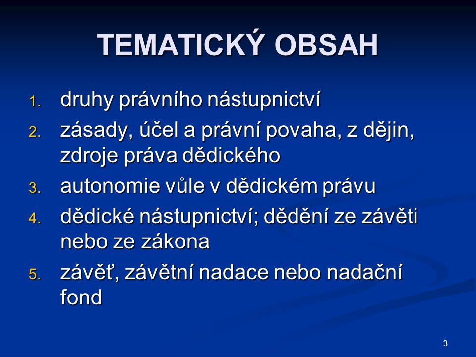 3 TEMATICKÝ OBSAH 1.druhy právního nástupnictví 2.