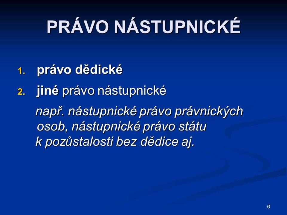 6 PRÁVO NÁSTUPNICKÉ 1.právo dědické 2. jiné právo nástupnické např.