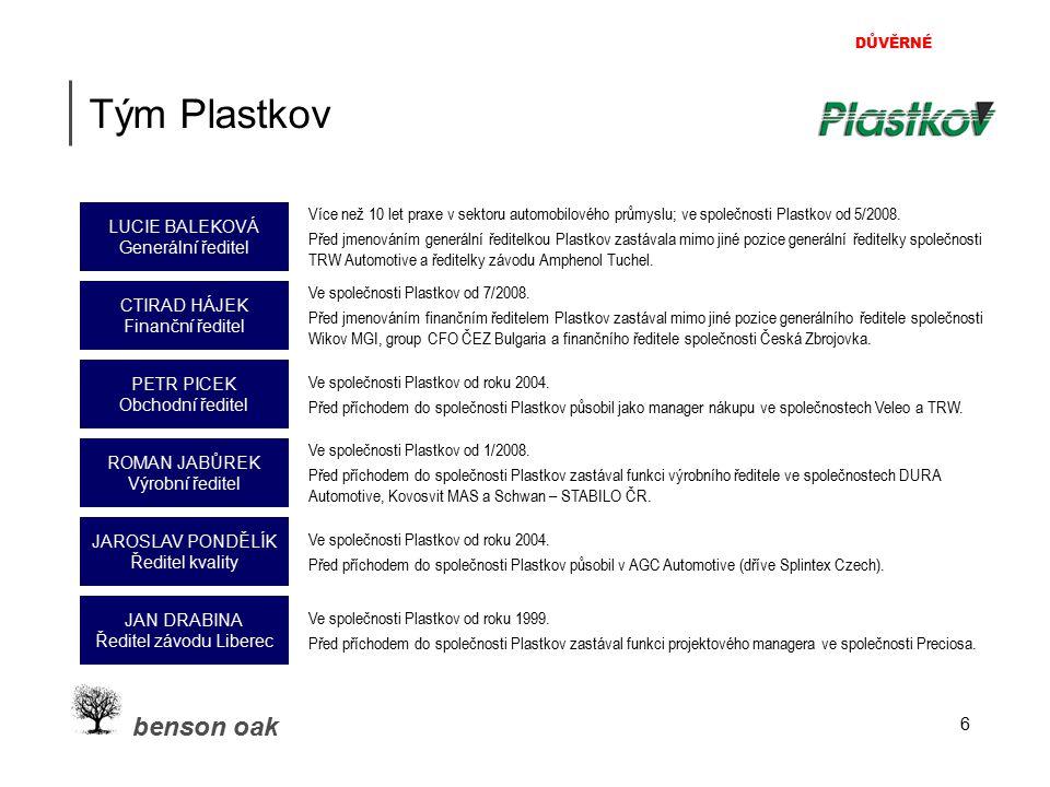 DŮVĚRNÉ benson oak 7 Strategie Plastkov 1.Organický růst: cca 10 % p.a.