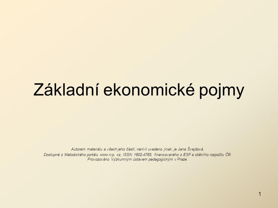 Základní ekonomické pojmy Autorem materiálu a všech jeho částí, není-li uvedeno jinak, je Jana Švejdová. Dostupné z Metodického portálu www.rvp. cz, I
