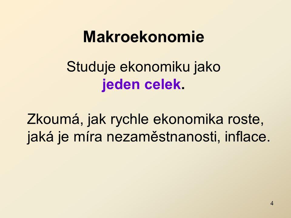 Makroekonomie Studuje ekonomiku jako jeden celek. Zkoumá, jak rychle ekonomika roste, jaká je míra nezaměstnanosti, inflace. 4
