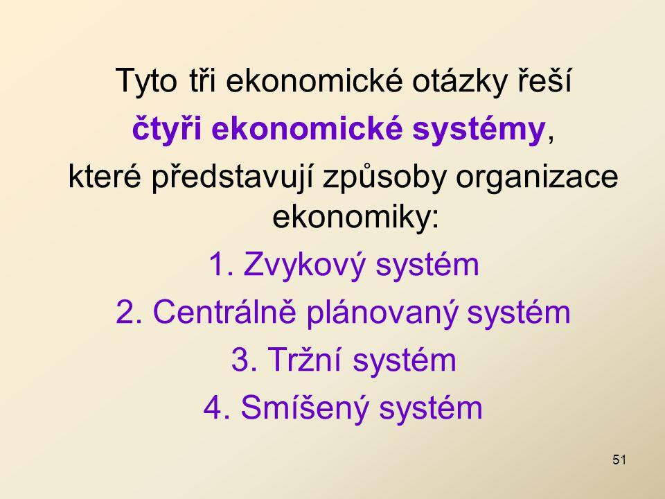 Tyto tři ekonomické otázky řeší čtyři ekonomické systémy, které představují způsoby organizace ekonomiky: 1. Zvykový systém 2. Centrálně plánovaný sys