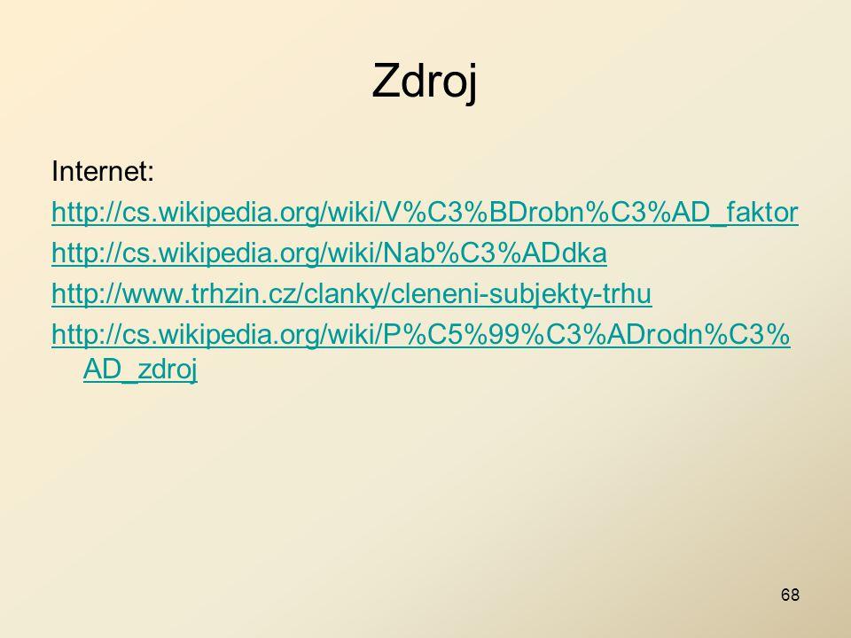 Zdroj Internet: http://cs.wikipedia.org/wiki/V%C3%BDrobn%C3%AD_faktor http://cs.wikipedia.org/wiki/Nab%C3%ADdka http://www.trhzin.cz/clanky/cleneni-su