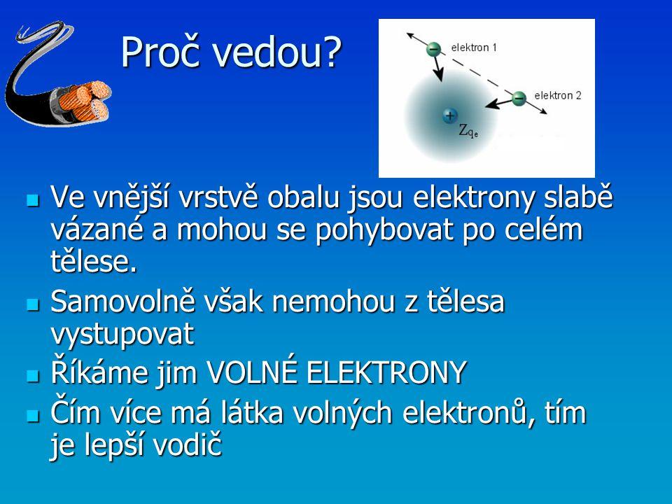 Proč vedou? Ve vnější vrstvě obalu jsou elektrony slabě vázané a mohou se pohybovat po celém tělese. Ve vnější vrstvě obalu jsou elektrony slabě vázan