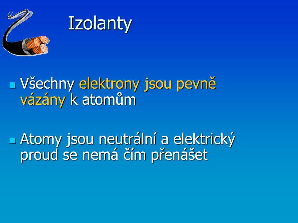 Izolanty Všechny elektrony jsou pevně vázány k atomům Všechny elektrony jsou pevně vázány k atomům Atomy jsou neutrální a elektrický proud se nemá čím
