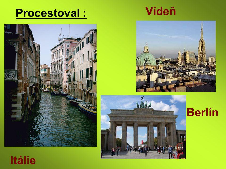Procestoval : Vídeň Itálie Berlín