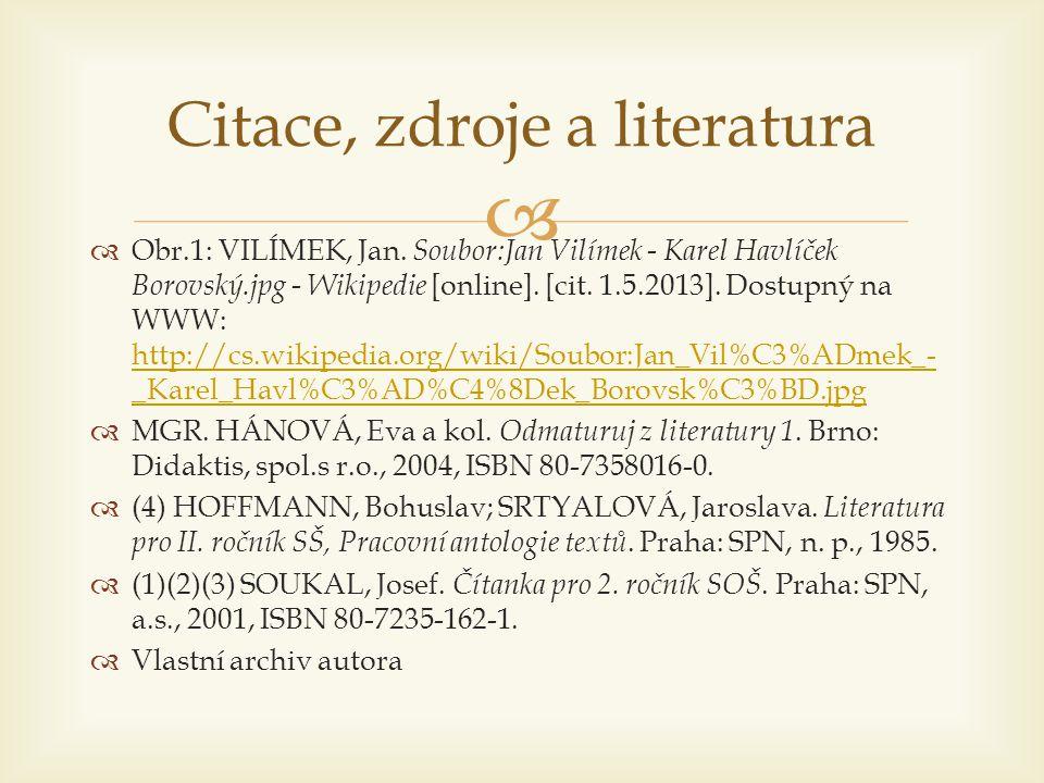   Obr.1: VILÍMEK, Jan. Soubor:Jan Vilímek - Karel Havlíček Borovský.jpg - Wikipedie [online]. [cit. 1.5.2013]. Dostupný na WWW: http://cs.wikipedia.