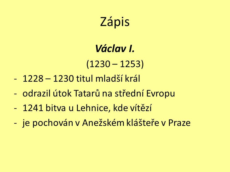 Zápis Václav I.