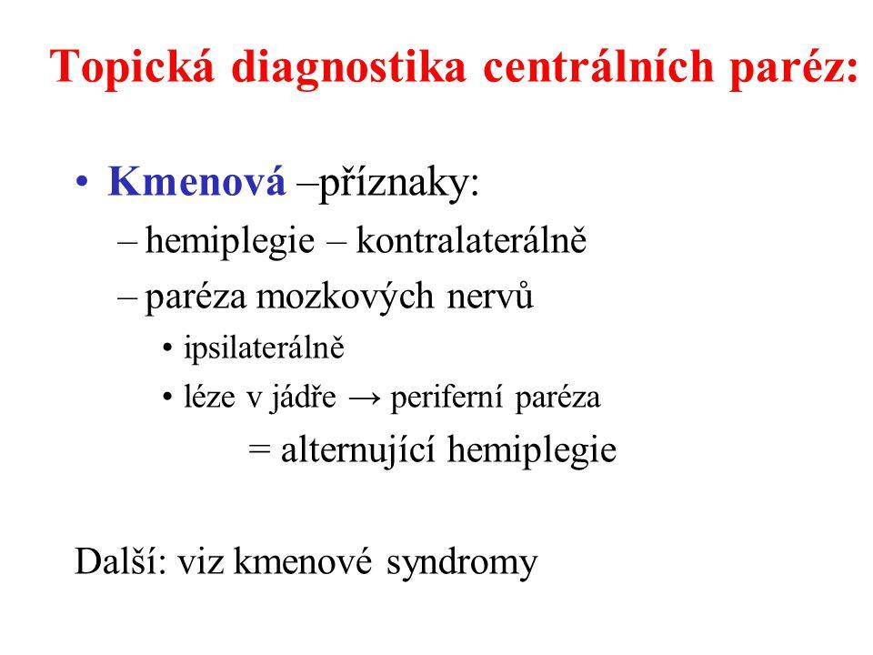 Topická diagnostika centrálních paréz: Kmenová –příznaky: –hemiplegie – kontralaterálně –paréza mozkových nervů ipsilaterálně léze v jádře → periferní