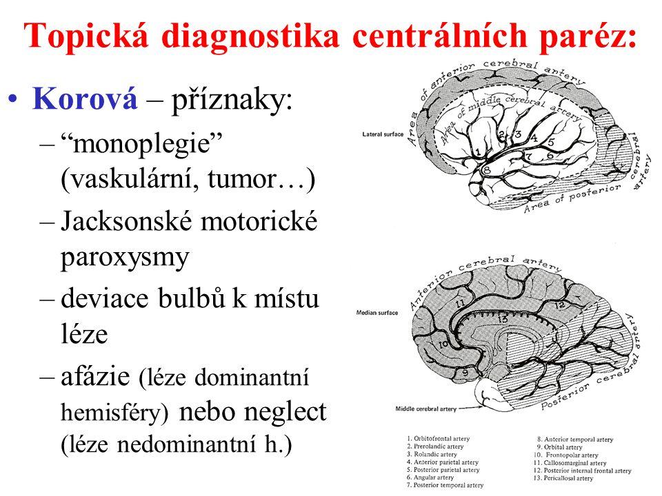 """Topická diagnostika centrálních paréz: Korová – příznaky: –""""monoplegie"""" (vaskulární, tumor…) –Jacksonské motorické paroxysmy –deviace bulbů k místu lé"""