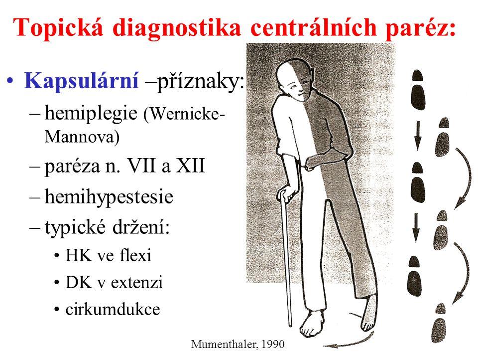 Topická diagnostika centrálních paréz: Kmenová –příznaky: –hemiplegie – kontralaterálně –paréza mozkových nervů ipsilaterálně léze v jádře → periferní paréza = alternující hemiplegie Další: viz kmenové syndromy