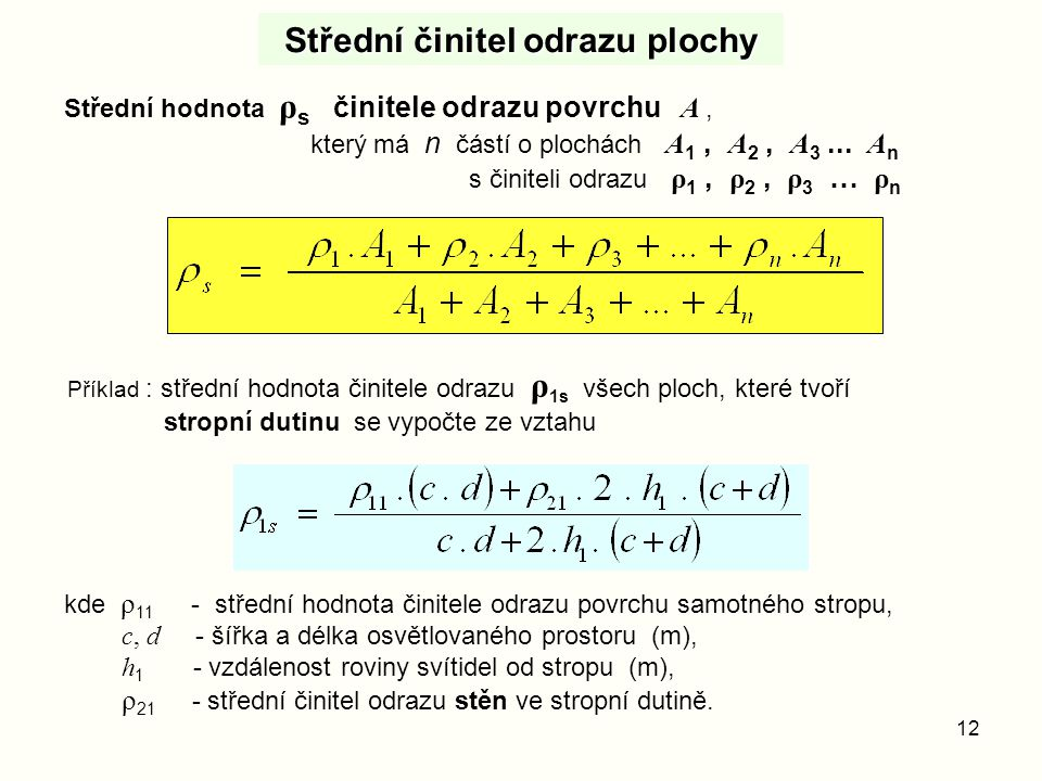 12 Střední činitel odrazu plochy Střední hodnota ρ s činitele odrazu povrchu A, který má n částí o plochách A 1, A 2, A 3... A n s činiteli odrazu ρ 1