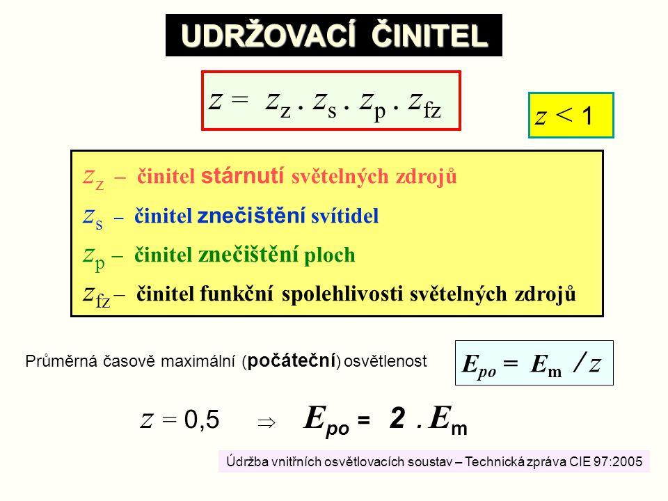 6 UDRŽOVACÍ ČINITEL z < 1 E po = E m / z Průměrná časově maximální ( počáteční ) osvětlenost z = 0,5  E po = 2. E m z = z z. z s. z p. z fz z z – čin