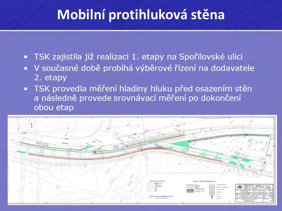 Mobilní protihluková stěna TSK zajistila již realizaci 1. etapy na Spořilovské ulici V současné době probíhá výběrové řízení na dodavatele 2. etapy TS