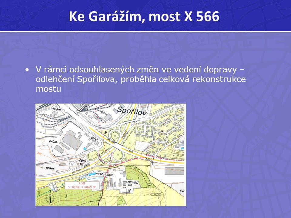 Ke Garážím, most X 566 V rámci odsouhlasených změn ve vedení dopravy – odlehčení Spořilova, proběhla celková rekonstrukce mostu