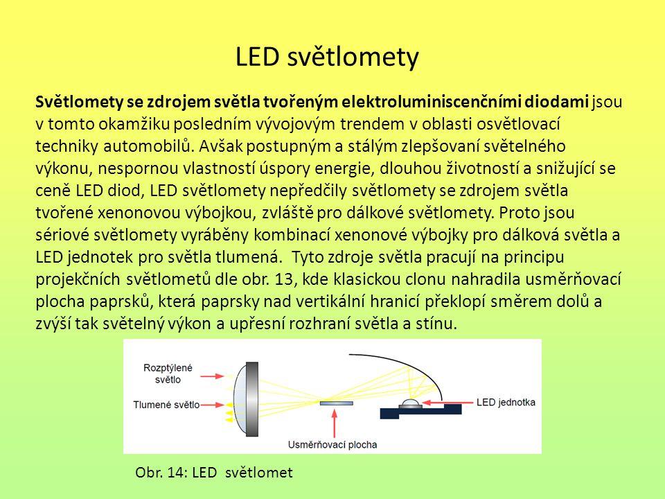 LED světlomety Světlomety se zdrojem světla tvořeným elektroluminiscenčními diodami jsou v tomto okamžiku posledním vývojovým trendem v oblasti osvětl