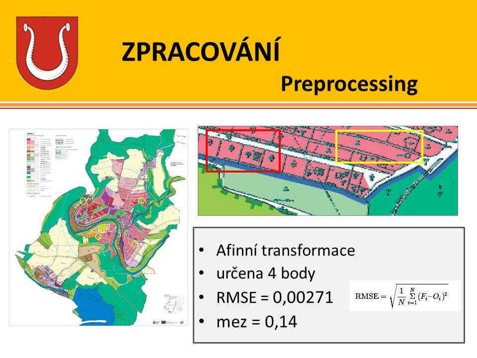 ZPRACOVÁNÍ Afinní transformace určena 4 body RMSE = 0,00271 mez = 0,14 Preprocessing