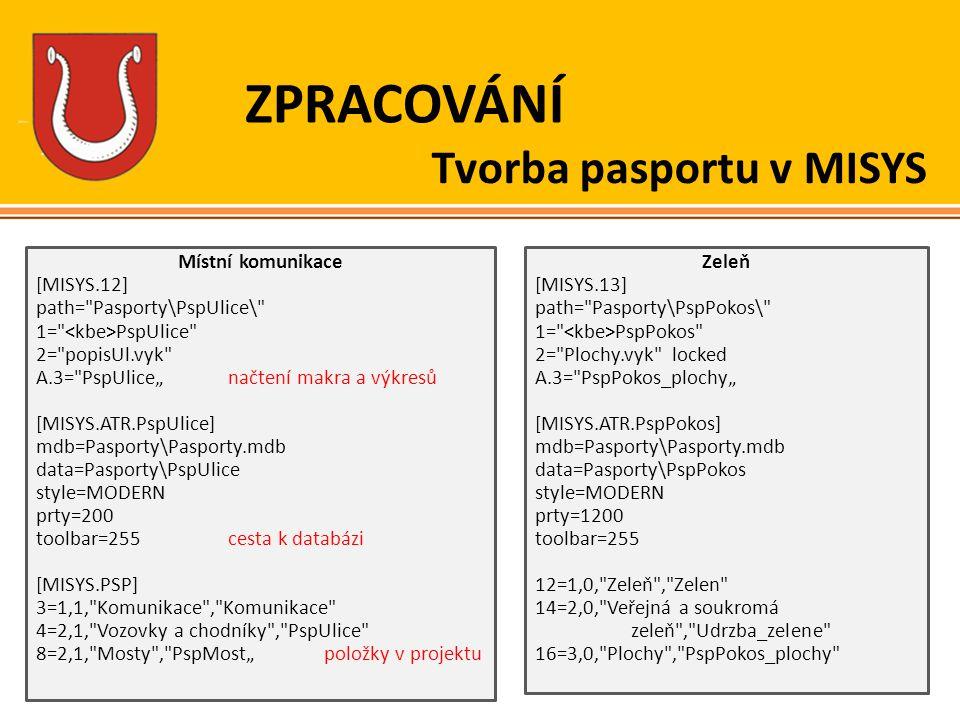 ZPRACOVÁNÍ Tvorba pasportu v MISYS Místní komunikace [MISYS.12] path=