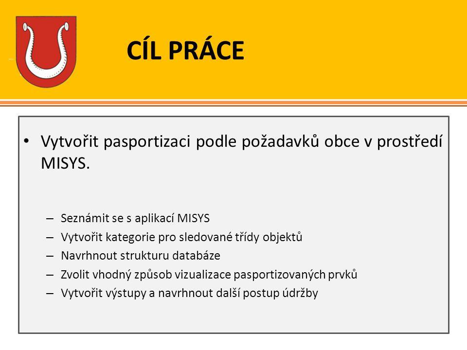 CÍL PRÁCE Vytvořit pasportizaci podle požadavků obce v prostředí MISYS. – Seznámit se s aplikací MISYS – Vytvořit kategorie pro sledované třídy objekt
