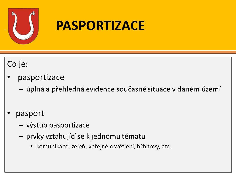 PASPORTIZACE Co je: pasportizace – úplná a přehledná evidence současné situace v daném území pasport – výstup pasportizace – prvky vztahující se k jed