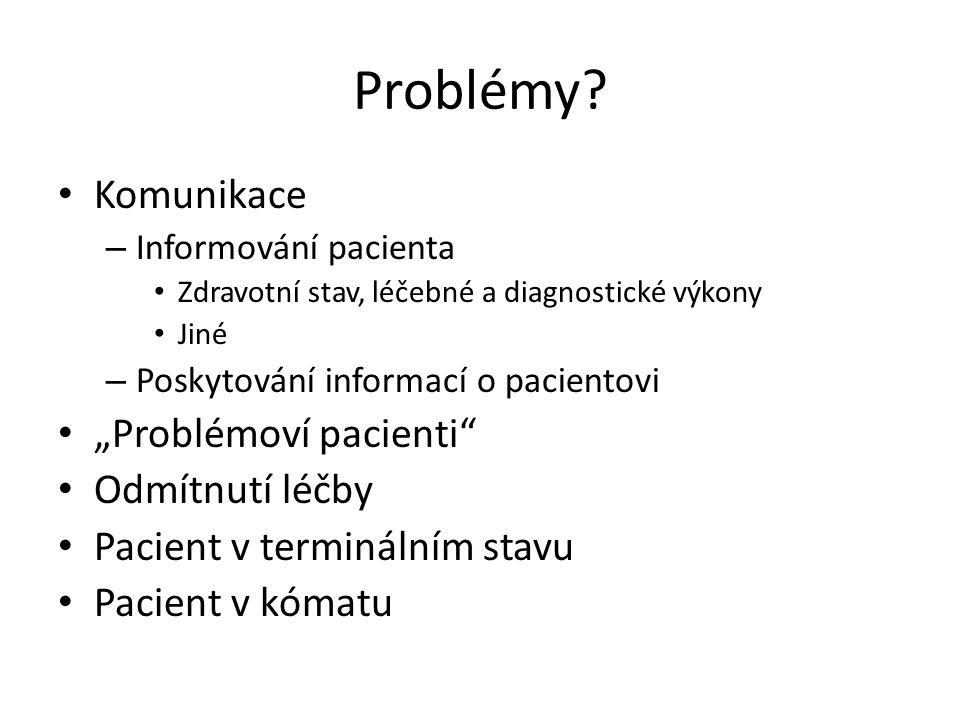 """Problémy? Komunikace – Informování pacienta Zdravotní stav, léčebné a diagnostické výkony Jiné – Poskytování informací o pacientovi """"Problémoví pacien"""