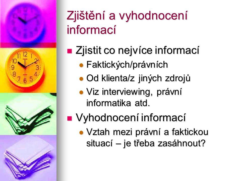 Zjištění a vyhodnocení informací Zjistit co nejvíce informací Zjistit co nejvíce informací Faktických/právních Faktických/právních Od klienta/z jiných