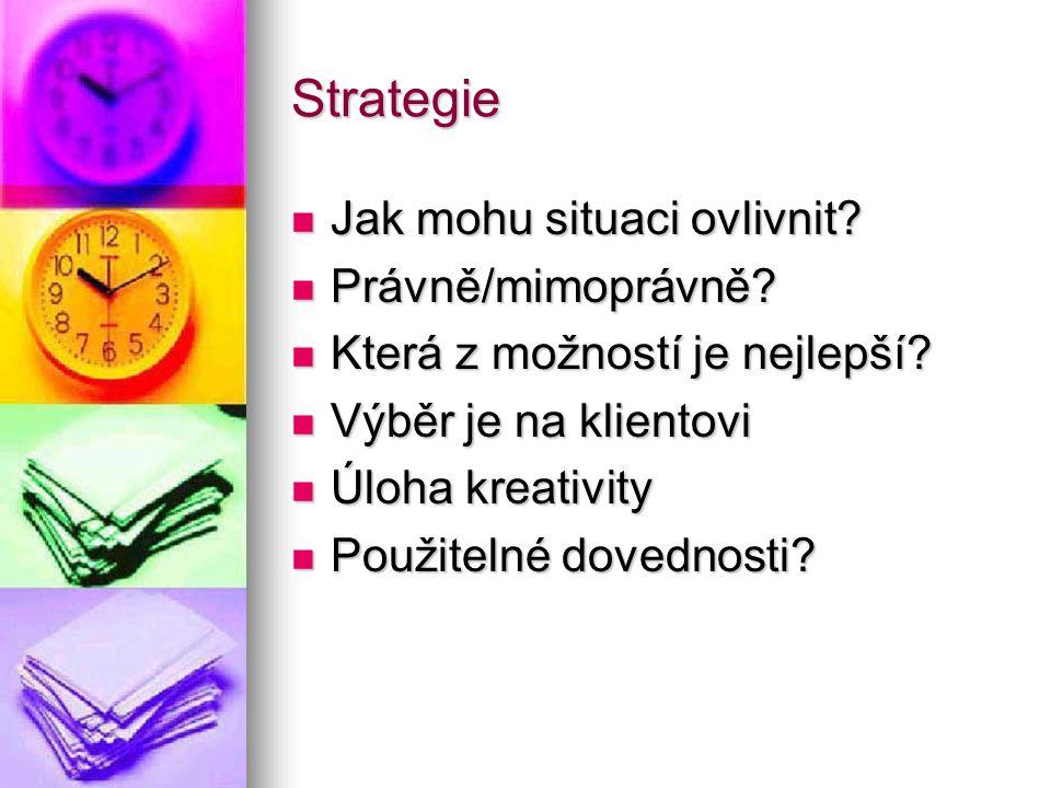 Strategie Jak mohu situaci ovlivnit? Jak mohu situaci ovlivnit? Právně/mimoprávně? Právně/mimoprávně? Která z možností je nejlepší? Která z možností j