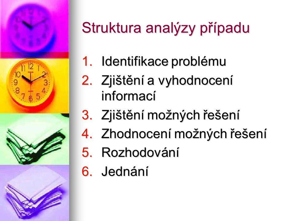 Struktura analýzy případu 1.Identifikace problému 2.Zjištění a vyhodnocení informací 3.Zjištění možných řešení 4.Zhodnocení možných řešení 5.Rozhodová