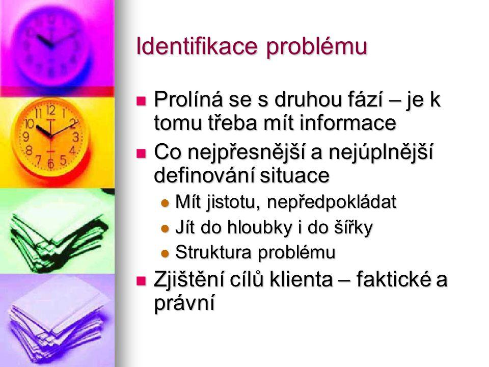 Identifikace problému Prolíná se s druhou fází – je k tomu třeba mít informace Prolíná se s druhou fází – je k tomu třeba mít informace Co nejpřesnějš