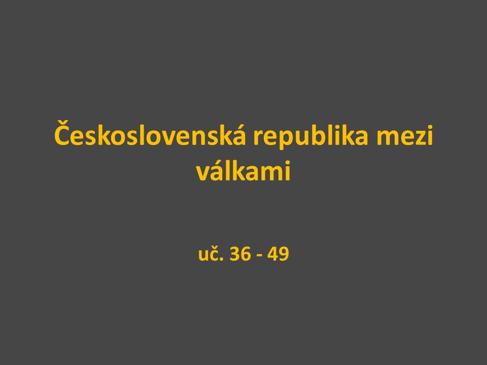 Formování republiky Československá republika vyhlášena 28.