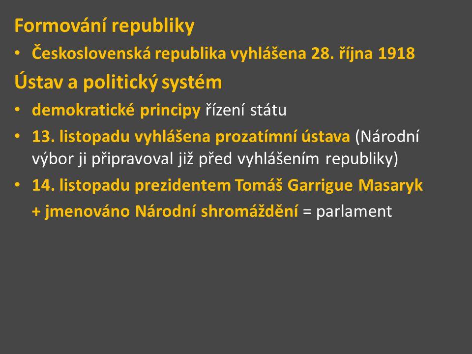Formování republiky Československá republika vyhlášena 28. října 1918 Ústav a politický systém demokratické principy řízení státu 13. listopadu vyhláš