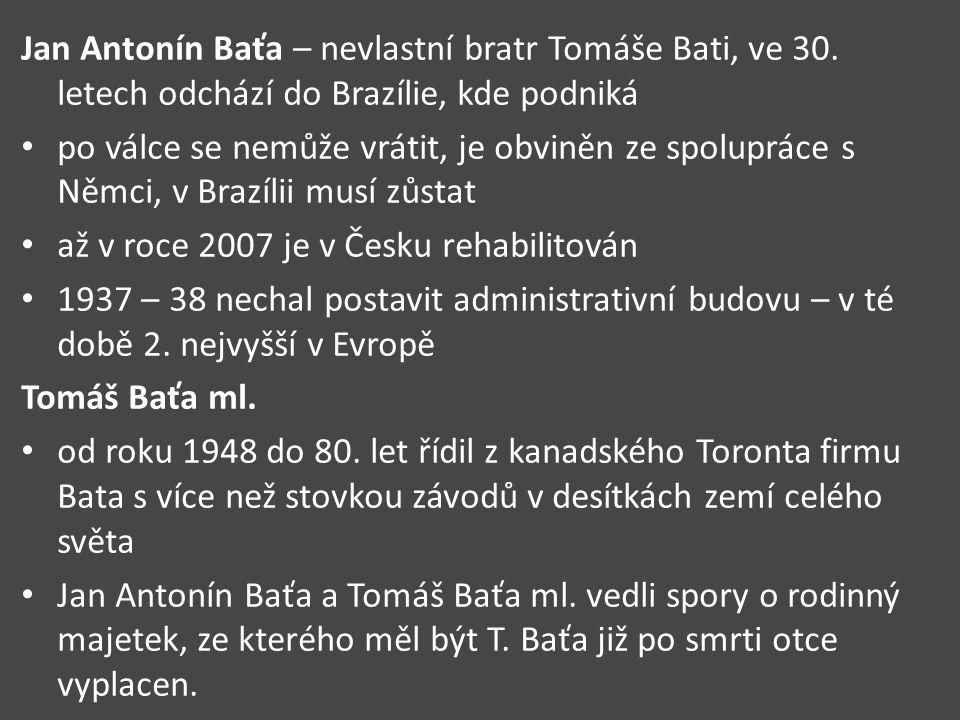 Jan Antonín Baťa – nevlastní bratr Tomáše Bati, ve 30.