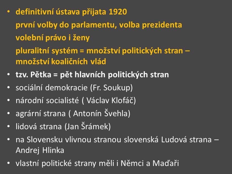 definitivní ústava přijata 1920 první volby do parlamentu, volba prezidenta volební právo i ženy pluralitní systém = množství politických stran – množství koaličních vlád tzv.