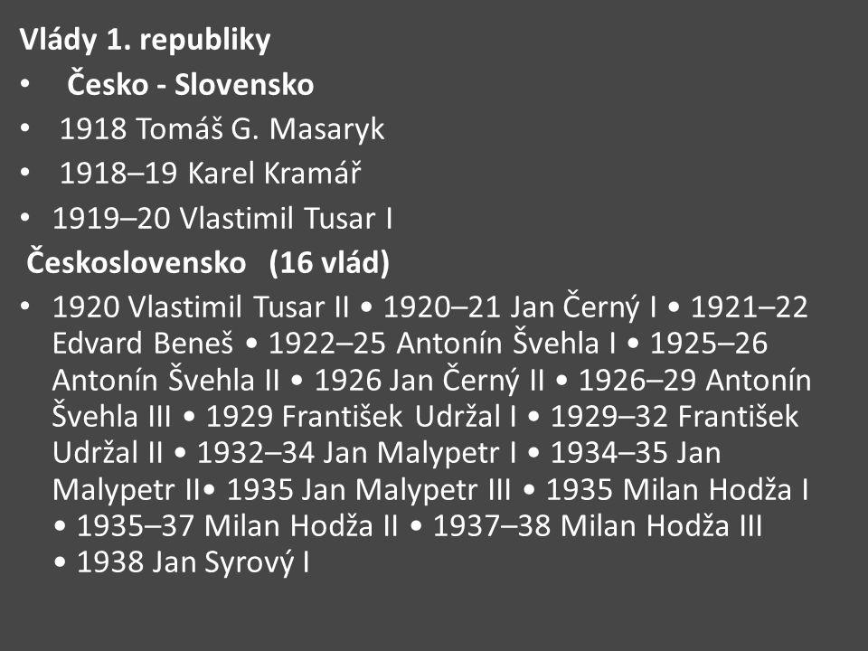 Vlády 1. republiky Česko - Slovensko 1918 Tomáš G. Masaryk 1918–19 Karel Kramář 1919–20 Vlastimil Tusar I Československo (16 vlád) 1920 Vlastimil Tusa