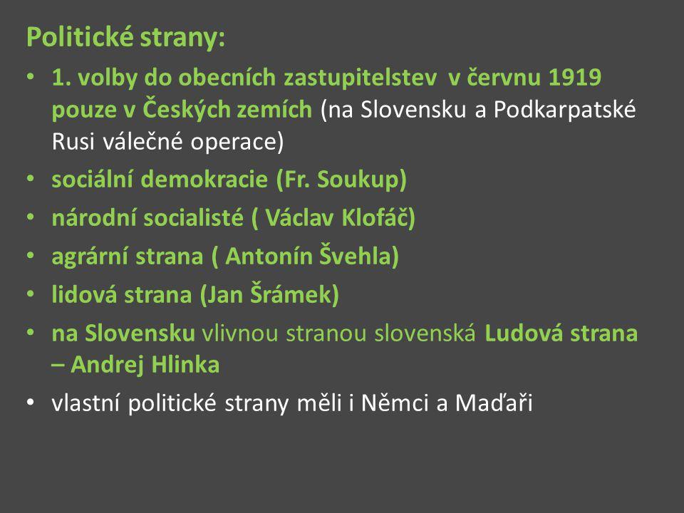 Politické strany: 1. volby do obecních zastupitelstev v červnu 1919 pouze v Českých zemích (na Slovensku a Podkarpatské Rusi válečné operace) sociální
