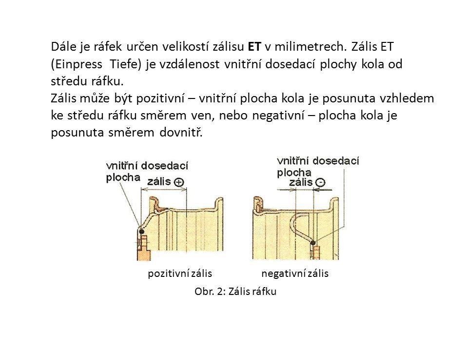 Obr. 2: Zális ráfku Dále je ráfek určen velikostí zálisu ET v milimetrech. Zális ET (Einpress Tiefe) je vzdálenost vnitřní dosedací plochy kola od stř