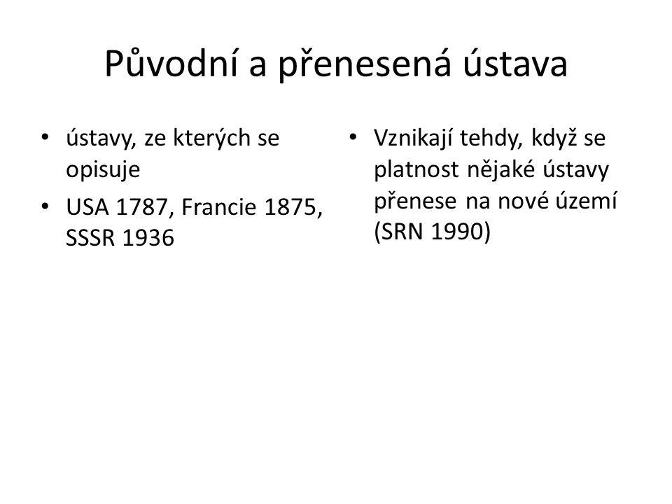 Původní a přenesená ústava ústavy, ze kterých se opisuje USA 1787, Francie 1875, SSSR 1936 Vznikají tehdy, když se platnost nějaké ústavy přenese na n