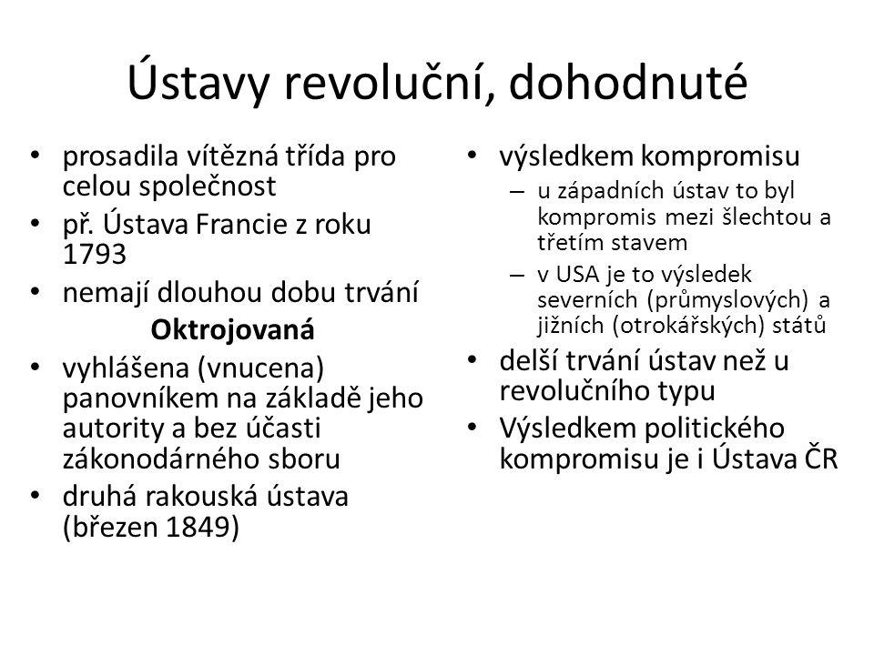 Ústavy revoluční, dohodnuté prosadila vítězná třída pro celou společnost př. Ústava Francie z roku 1793 nemají dlouhou dobu trvání Oktrojovaná vyhláše