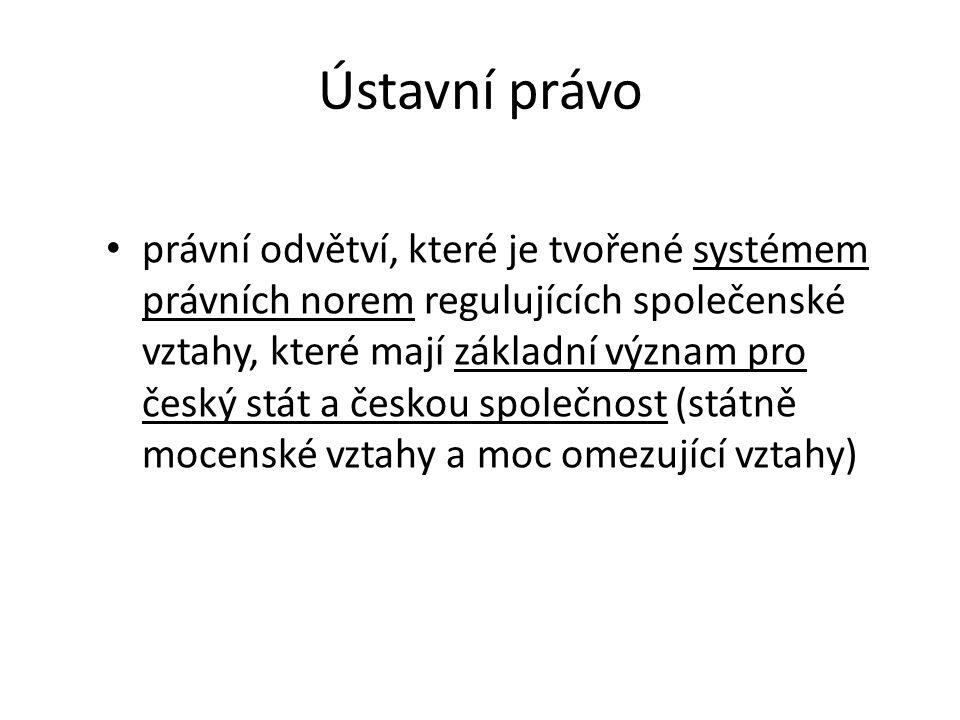 Ústavní právo právní odvětví, které je tvořené systémem právních norem regulujících společenské vztahy, které mají základní význam pro český stát a če