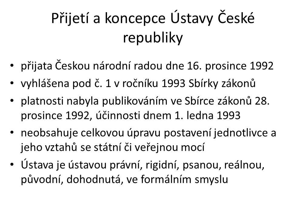 Přijetí a koncepce Ústavy České republiky přijata Českou národní radou dne 16. prosince 1992 vyhlášena pod č. 1 v ročníku 1993 Sbírky zákonů platnosti