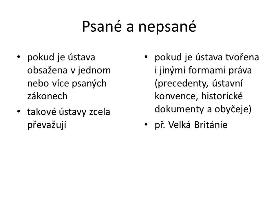 Monolegální a polylegální tvořeny jedním dokumentem (kodifikované) ústavy tvořeny více dokumenty (Ústava ČR)