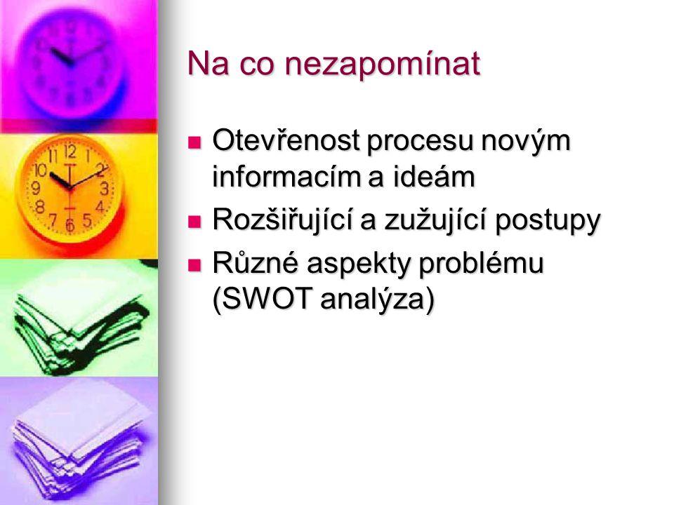 Na co nezapomínat Otevřenost procesu novým informacím a ideám Otevřenost procesu novým informacím a ideám Rozšiřující a zužující postupy Rozšiřující a