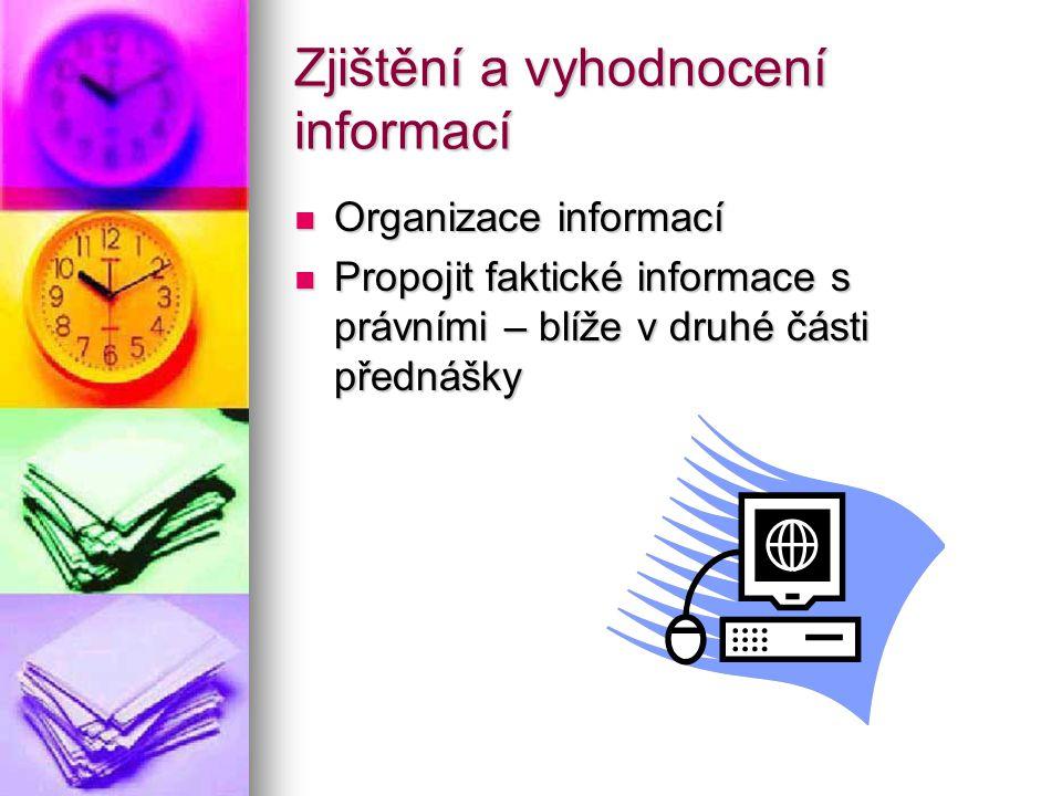 Zjištění a vyhodnocení informací Organizace informací Organizace informací Propojit faktické informace s právními – blíže v druhé části přednášky Prop